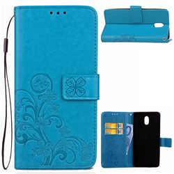 Embossing Imprint Four-Leaf Clover Leather Wallet Case for Nokia 3 Nokia3 - Blue
