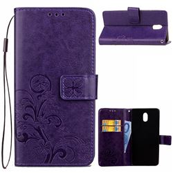 Embossing Imprint Four-Leaf Clover Leather Wallet Case for Nokia 3 Nokia3 - Purple