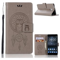 Intricate Embossing Owl Campanula Leather Wallet Case for Nokia 3 Nokia3 - Grey