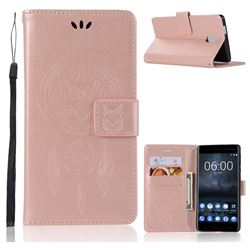 Intricate Embossing Owl Campanula Leather Wallet Case for Nokia 3 Nokia3 - Rose Gold