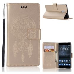 Intricate Embossing Owl Campanula Leather Wallet Case for Nokia 3 Nokia3 - Champagne