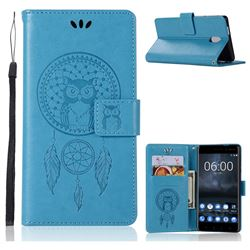 Intricate Embossing Owl Campanula Leather Wallet Case for Nokia 3 Nokia3 - Blue