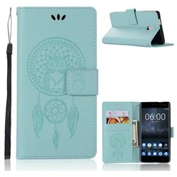 Intricate Embossing Owl Campanula Leather Wallet Case for Nokia 3 Nokia3 - Green
