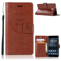 Intricate Embossing Owl Campanula Leather Wallet Case for Nokia 3 Nokia3 - Brown