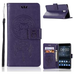 Intricate Embossing Owl Campanula Leather Wallet Case for Nokia 3 Nokia3 - Purple