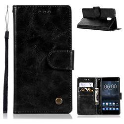 Luxury Retro Leather Wallet Case for Nokia 3 Nokia3 - Black