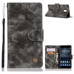 Luxury Retro Leather Wallet Case for Nokia 3 Nokia3 - Gray