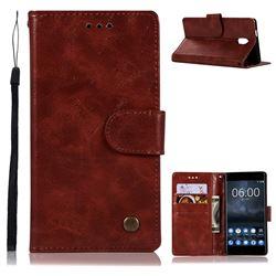 Luxury Retro Leather Wallet Case for Nokia 3 Nokia3 - Wine Red