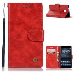 Luxury Retro Leather Wallet Case for Nokia 3 Nokia3 - Red