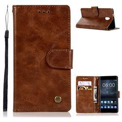 Luxury Retro Leather Wallet Case for Nokia 3 Nokia3 - Brown