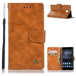 Luxury Retro Leather Wallet Case for Nokia 3 Nokia3 - Golden