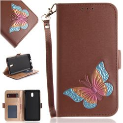 Imprint Embossing Butterfly Leather Wallet Case for Nokia 3 Nokia3 - Brown