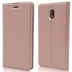 Ultra Slim Card Magnetic Automatic Suction Leather Wallet Case for Nokia 3 Nokia3 - Rose Gold