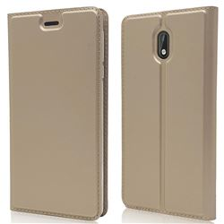 Ultra Slim Card Magnetic Automatic Suction Leather Wallet Case for Nokia 3 Nokia3 - Champagne