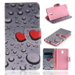 Heart Raindrop PU Leather Wallet Case for Nokia 3 Nokia3