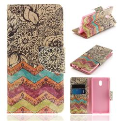 Wave Flower PU Leather Wallet Case for Nokia 3 Nokia3