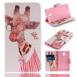 Pink Giraffe PU Leather Wallet Case for Nokia 3 Nokia3