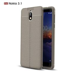 Luxury Auto Focus Litchi Texture Silicone TPU Back Cover for Nokia 3.1 - Gray