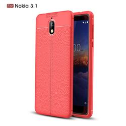 Luxury Auto Focus Litchi Texture Silicone TPU Back Cover for Nokia 3.1 - Red