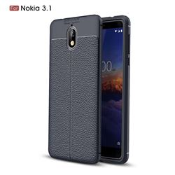 Luxury Auto Focus Litchi Texture Silicone TPU Back Cover for Nokia 3.1 - Dark Blue