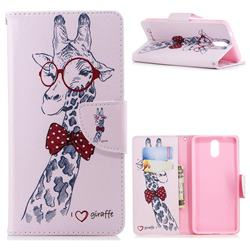 Glasses Giraffe Leather Wallet Case for Nokia 3.1