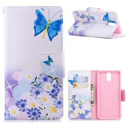 Butterflies Flowers Leather Wallet Case for Nokia 3.1