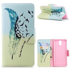 Feather Bird Leather Wallet Case for Nokia 3.1