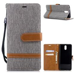 Jeans Cowboy Denim Leather Wallet Case for Nokia 3.1 - Gray