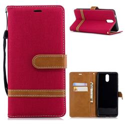 Jeans Cowboy Denim Leather Wallet Case for Nokia 3.1 - Red