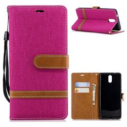 Jeans Cowboy Denim Leather Wallet Case for Nokia 3.1 - Rose