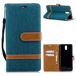 Jeans Cowboy Denim Leather Wallet Case for Nokia 3.1 - Green