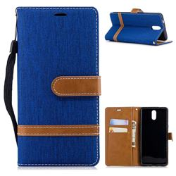 Jeans Cowboy Denim Leather Wallet Case for Nokia 3.1 - Sapphire