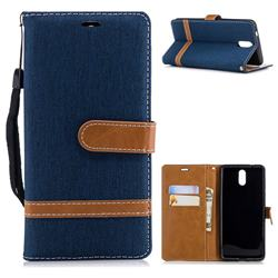 Jeans Cowboy Denim Leather Wallet Case for Nokia 3.1 - Dark Blue