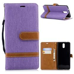 Jeans Cowboy Denim Leather Wallet Case for Nokia 3.1 - Purple
