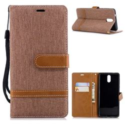Jeans Cowboy Denim Leather Wallet Case for Nokia 3.1 - Brown