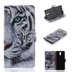 White Tiger PU Leather Wallet Case for Nokia 3.1