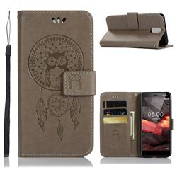 Intricate Embossing Owl Campanula Leather Wallet Case for Nokia 3.1 - Grey