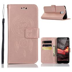 Intricate Embossing Owl Campanula Leather Wallet Case for Nokia 3.1 - Rose Gold