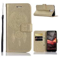 Intricate Embossing Owl Campanula Leather Wallet Case for Nokia 3.1 - Champagne