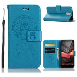 Intricate Embossing Owl Campanula Leather Wallet Case for Nokia 3.1 - Blue