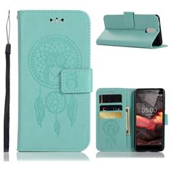 Intricate Embossing Owl Campanula Leather Wallet Case for Nokia 3.1 - Green