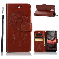 Intricate Embossing Owl Campanula Leather Wallet Case for Nokia 3.1 - Brown