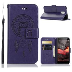 Intricate Embossing Owl Campanula Leather Wallet Case for Nokia 3.1 - Purple