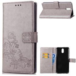 Embossing Imprint Four-Leaf Clover Leather Wallet Case for Nokia 3.1 - Grey