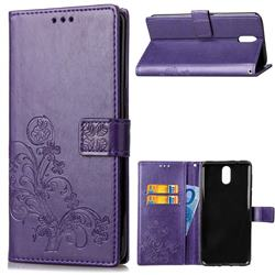Embossing Imprint Four-Leaf Clover Leather Wallet Case for Nokia 3.1 - Purple