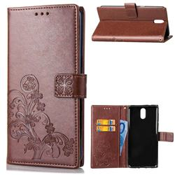 Embossing Imprint Four-Leaf Clover Leather Wallet Case for Nokia 3.1 - Brown
