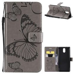 Embossing 3D Butterfly Leather Wallet Case for Nokia 3.1 - Gray