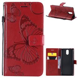 Embossing 3D Butterfly Leather Wallet Case for Nokia 3.1 - Red