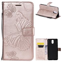 Embossing 3D Butterfly Leather Wallet Case for Nokia 3.1 - Rose Gold
