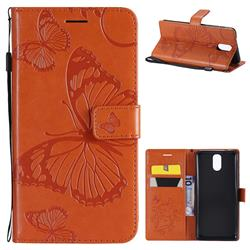 Embossing 3D Butterfly Leather Wallet Case for Nokia 3.1 - Orange